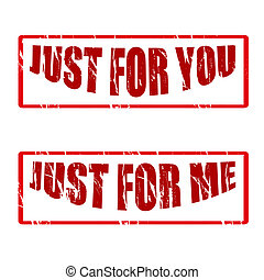 Just for - Set of stamps with text just for you and just for...