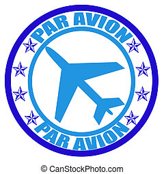 Par avion - Stamp with word par avion inside, vector...