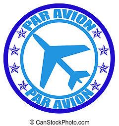 Par avion - Stamp with word par avion inside, vector...