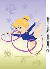 Kid doing gymnastics dance