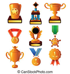 Gold medal and trophy icons - A vector illustration of gold...