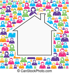 Home icon with in group of people