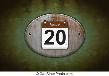 Old wooden calendar with August 20. - Illustration old...