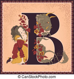 Beauty and the Beast - Vintage children's book alphabet with...
