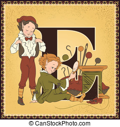 The Elves and the Shoemaker - Vintage children book alphabet...