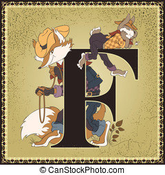Brer Rabbit and Brer Fox - Vintage children book alphabet...