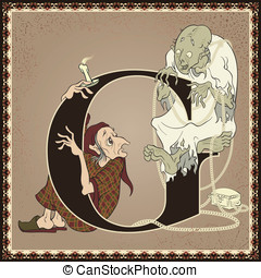 Scrooge and Marley's ghost - Vintage children book alphabet...