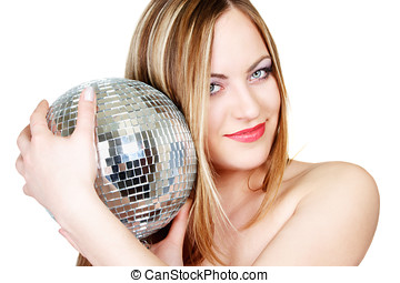 Young woman with disco ball