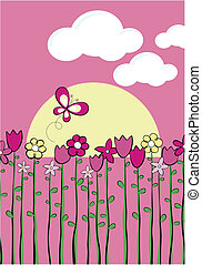 spring childish vector graphic - illustration of tall spring...