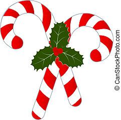 Candy Canes and Holly Isolated on W - Two candy canes with...