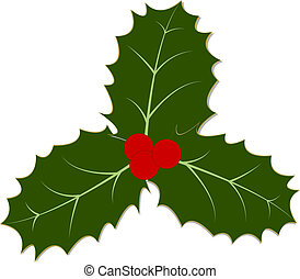 Holly Leaves and Berries - Three traditional holly leaves...