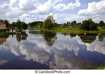 Reflection of clouds in a lake