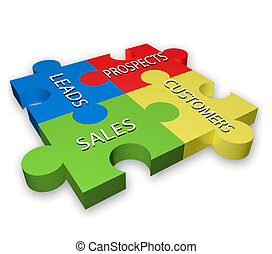 Sales puzzle diagram in four colors