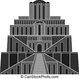 Stencil of ziggurat. vector illustration