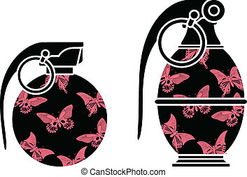 stencils of glamour grenades. vector illustration