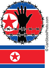 Violation of human rights in North Korea vector illustration...