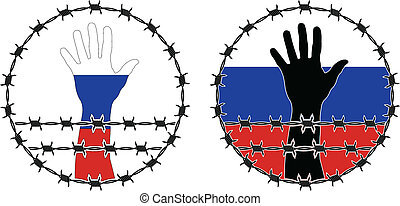 Violation of human rights in Russia vector illustration