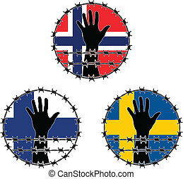 Violation of human rights in Scandinavian vector...
