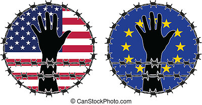 Violation of human rights in USA and EU vector illustration...