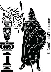 ancient hellenic man stencil vector illustration