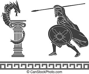 Ancient hero and dragon stencil second variant vector...