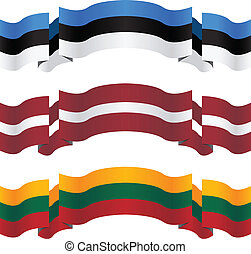 banners and flags of baltic states vector illustration