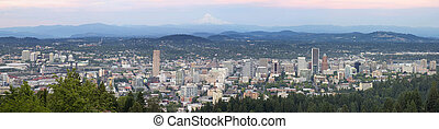 Portland Oregon Cityscape with Mount Hood - Portland Oregon...