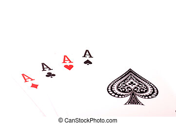 Four aces cards isolated on white background
