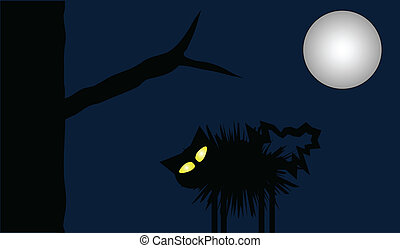 Full Moon Cat - Scared cat puffs up on a moonlit night...