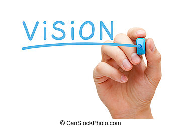 Vision Blue Marker - Hand writing Vision with blue marker on...