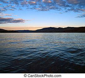 Mountain Lake at Dusk - Lake Chelan in Washington State USA