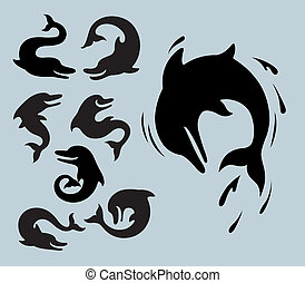 Dolphin Silhouette Symbols - Smooth silhouettes vector Use...