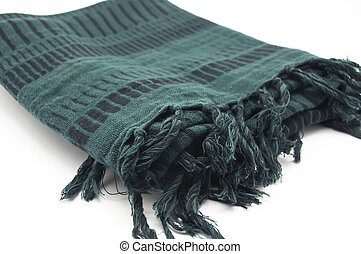 Neckerchief   - Green scarf with fringes on white background