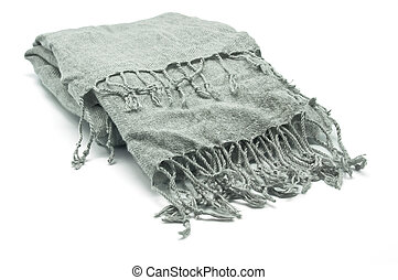 Neckerchief - Gray scarf with fringes on white background