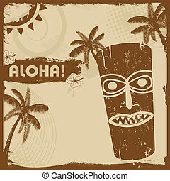 Vintage flyer with tiki and palms - Vintage grunge flyer...