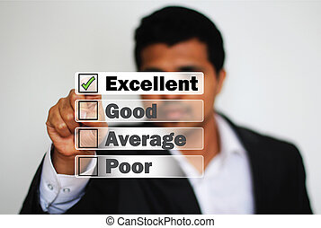 Young Professional giving excellent feedback rating as...
