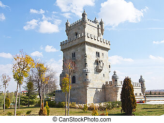 Tower of Belem in scale in Europa Park, Torrejon de Ardoz,...