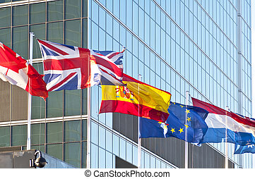 Flags - Flag of the European Union, Spain, Canada and UK