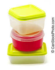 Plastic containers for food on white background