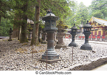 Temple in Nikko,Japan - Stone lantern in a Japanese temple