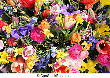 Bright colored spring flower bouquet - Bright colors in a...