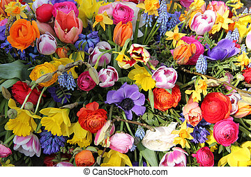 Mixed Spring Flowers - Bright colors in a mixed flower...