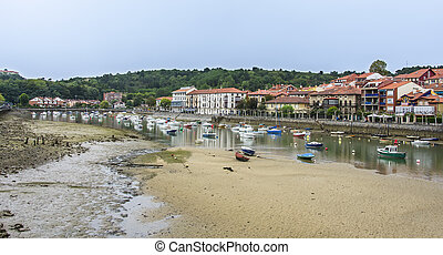 Plentzia in Vizcaya,Spain - Fishing boats in the bay of...