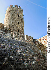 Tower of stone fortress in Belgrade - tower of ancient...