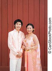 Asian Thai Bridal in Thai Wedding Suit