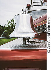 Vintage Fire Engine Bell - Closup of a chrome plated fire...