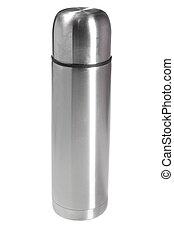 thermos - Silver thermos on white ground