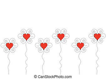 Heart flowers on white