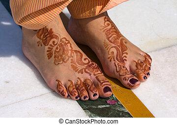 henna, pés, Noiva, Índia