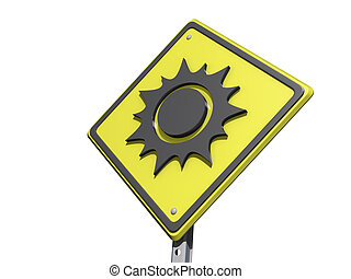 Sunny Day Ahead Yield Sign - A yield road sign with a sunny...
